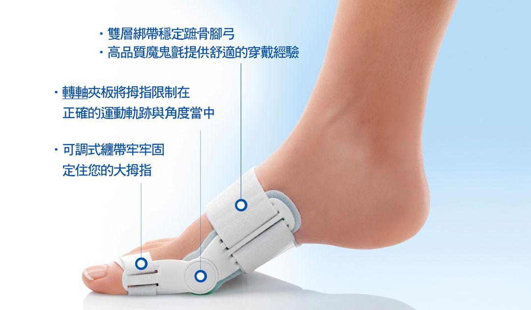"""本產品運用一種革命性的矯正方法讓您感受到極度舒適,即使穿著本產品行走也不會感受到不適應,豪樂適""""拇趾外翻矯正器針對拇指外翻設計了一種輔助治療方法。其專利的轉軸工學使得您在行走時,大姆趾仍能自在的彎曲,有助於復原腳掌,使腳掌復原至原先的形狀"""